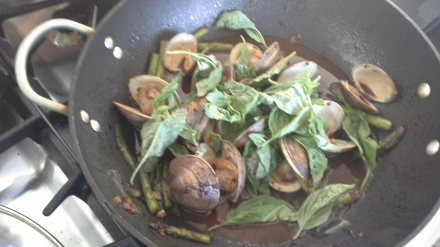 clams with basil and chile jam